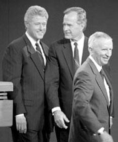 "When Clinton and Bush supported NAFTA in 1992, 3d party candidate Perot predicted a ""giant sucking sound"" of U.S. manufacturing jobs going south to Mexico"