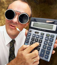 Shady accountant with calculator