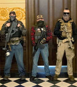 Men with assault weapons outside Governor's office, Lansing, Michigan, April 30, 2020