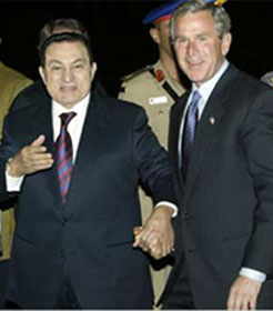 Hosni Mubarak with George Bush