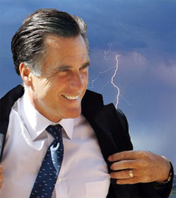 Mitt Romney with lightning bolt